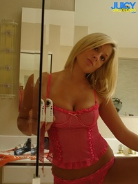 Amazing hot blonde takes off her sexy pink lingerie